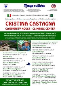 Locandina del ciclo di incontri sul progetto Cristina Castagna Community House- Climbing Center, gennaio 2014.