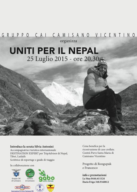 Locandina della cena di beneficenza per il Nepal